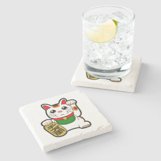 Maneki Neko: Japanese Lucky Cat Stone Coaster
