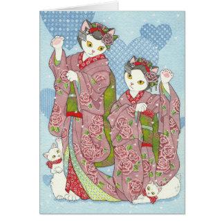 Maneki Neko Kawaii Maiko Dancing Cats Kimono Card