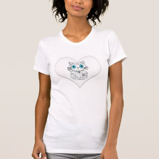 Maneki Neko Lucky Beckoning Cat White Heart T-Shirt