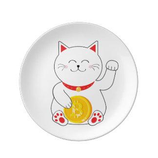 Maneki Neko Lucky Cat Bitcoin Plate