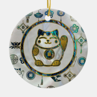 Maneki Neko Lucky cat on  pearl and abalone Ceramic Ornament
