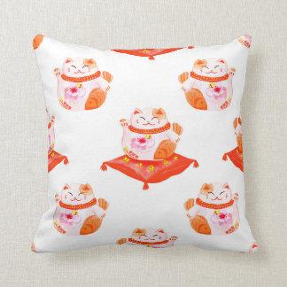 Maneki Neko, Orange & Red Throw Pillow