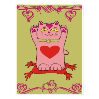 Maneki Neko Pink Cat with Hearts Postcard