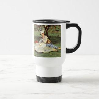 Manet Impressionist French family in garden Travel Mug