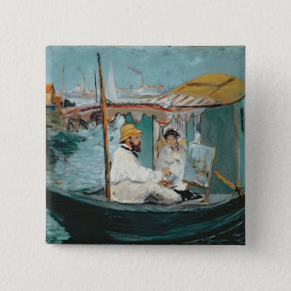 Manet   Monet in his Floating Studio, 1874 15 Cm Square Badge