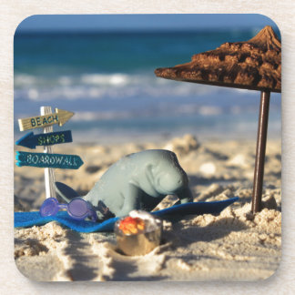 Manfred the Manatee at the Beach Beverage Coasters