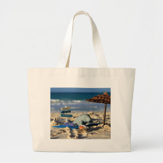 Manfred the Manatee at the Beach Large Tote Bag