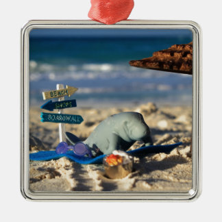 Manfred the Manatee at the Beach Metal Ornament