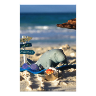 Manfred the Manatee at the Beach Stationery