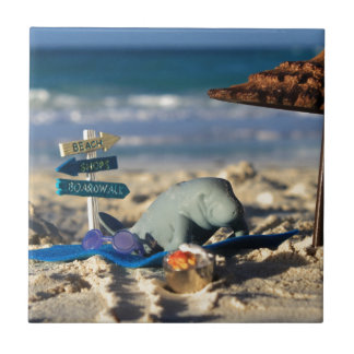 Manfred the Manatee at the Beach Tile