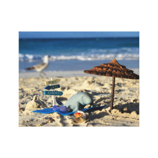 Manfred the Manatee relaxing on the beach Canvas Print