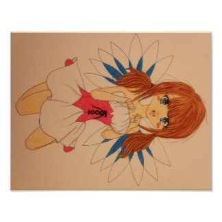 Manga Fairy Girl with Pigtails Poster