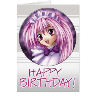Manga Girl Maid Birthday Card