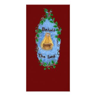 Manger Holly Baby Jesus Christmas Design Photo Greeting Card