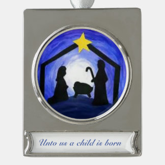 Manger Scene - ornament Silver Plated Banner Ornament