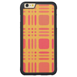 Mango and Papaya Plaid Wannabe Carved® Maple iPhone 6 Plus Bumper Case