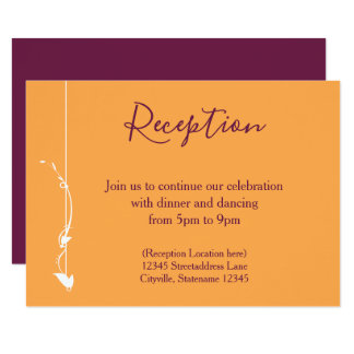 Mango and Purple Wedding | Reception Card