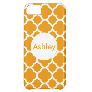Mango Color Quatrefoil Pattern Monogram iPhone 5C Case