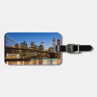 Manhattan and Brooklyn Bridge at dusk Bag Tag