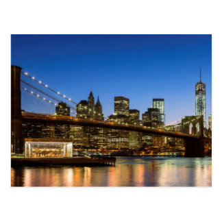 Manhattan and Brooklyn Bridge at dusk Postcard