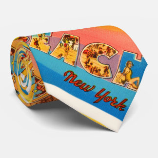Manhattan Beach New York NY Old Travel Souvenir Tie