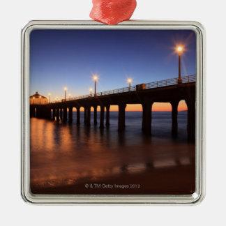 Manhattan Beach Pier at sunset, California Metal Ornament