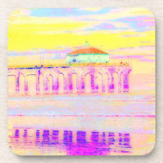 Manhattan Beach Pier California in Pastels Drink Coasters