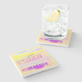 Manhattan Beach Pier California in Pastels Stone Coaster