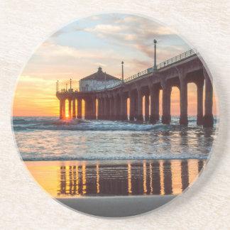 Manhattan Beach Pier Sunset Beverage Coaster