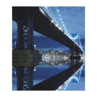 Manhattan Bridge and Manhattan skyline At Night Gallery Wrapped Canvas