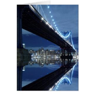 Manhattan Bridge and Manhattan skyline At Night Cards