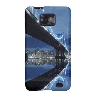 Manhattan Bridge and Manhattan skyline At Night Samsung Galaxy Case