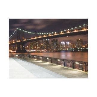 Manhattan Bridge and NYC Skyline Gallery Wrapped Canvas