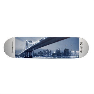 Manhattan Bridge and Skyline At Night, NYC 21.6 Cm Skateboard Deck