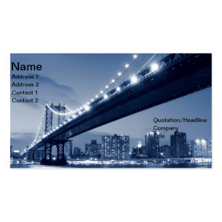 Manhattan Bridge and Skyline At Night, NYC Business Card Templates