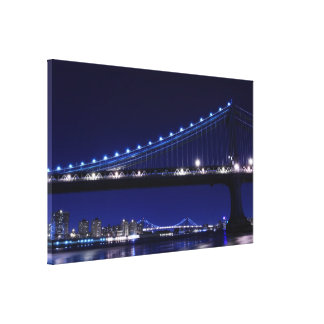 Manhattan Bridge and Skyline at Night, NYc Stretched Canvas Print