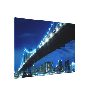 Manhattan Bridge and Skyline at Night, NYc Stretched Canvas Prints