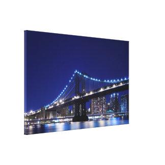 Manhattan Bridge and Skyline at Night NYc Canvas Prints