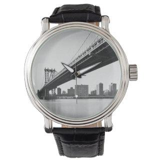 Manhattan Bridge and skyline, New York, US. Watch