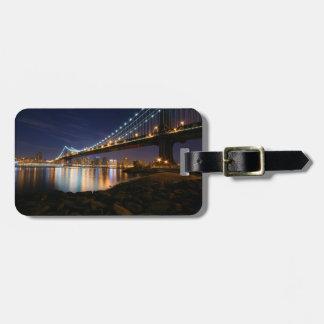 Manhattan Bridge at Night Travel Bag Tag
