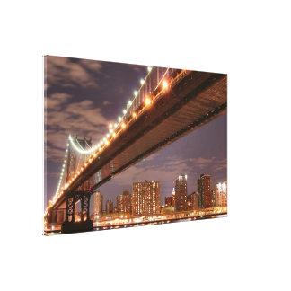 Manhattan Bridge At Night, New York City Canvas Prints