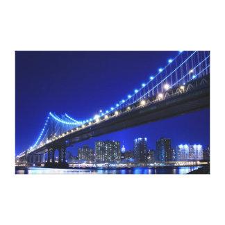 Manhattan Bridge At Night New York City Stretched Canvas Prints