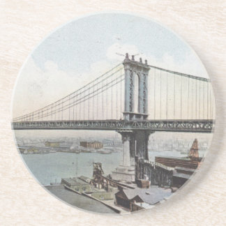 Manhattan Bridge NYC Vintage Postcard Coasters
