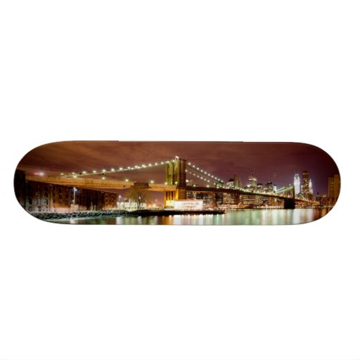Manhattan & Brooklyn bridge night view. Feel NYC. Skate Deck