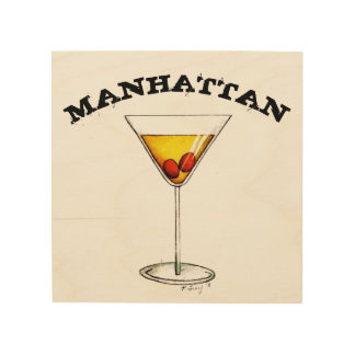 Manhattan Cocktail Mixed Drink Bar Bartender Food Wood Print