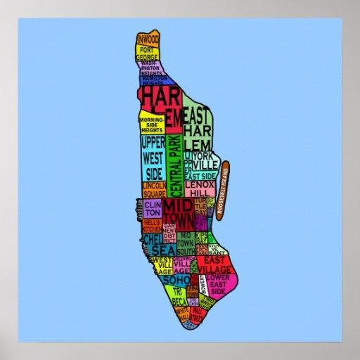 Manhattan Neighborhoods Map Posters