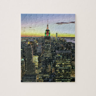 Manhattan New York at night Jigsaw Puzzle