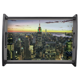 Manhattan New York at night Serving Tray