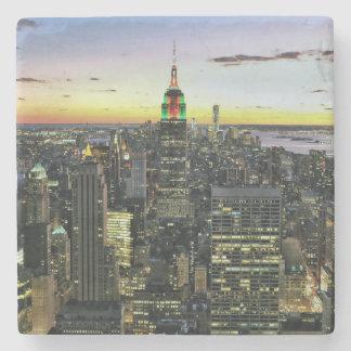 Manhattan New York at night Stone Coaster
