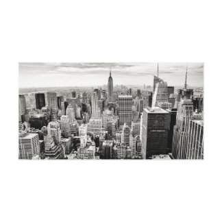 Manhattan, New York (black & white panorama) Canvas Print